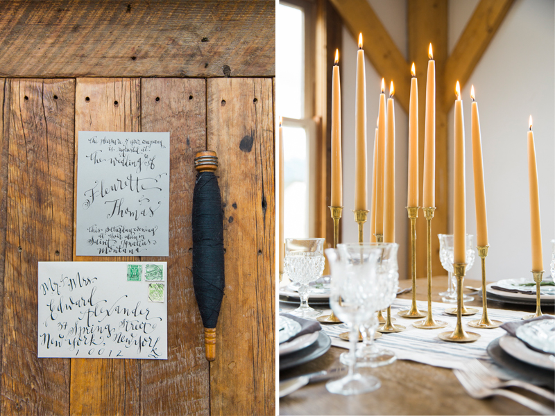 wedding table beeswax candle homespun intimate calligraphy glacier national park